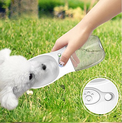 Dog Water Bottle Partable Pup Puppy Watering Bottles Doggie Drinking Bowls Pet Water Dispenser with a Lanyard, for Outdoor Hiking Playing Walking Travelling, 12OZ, White