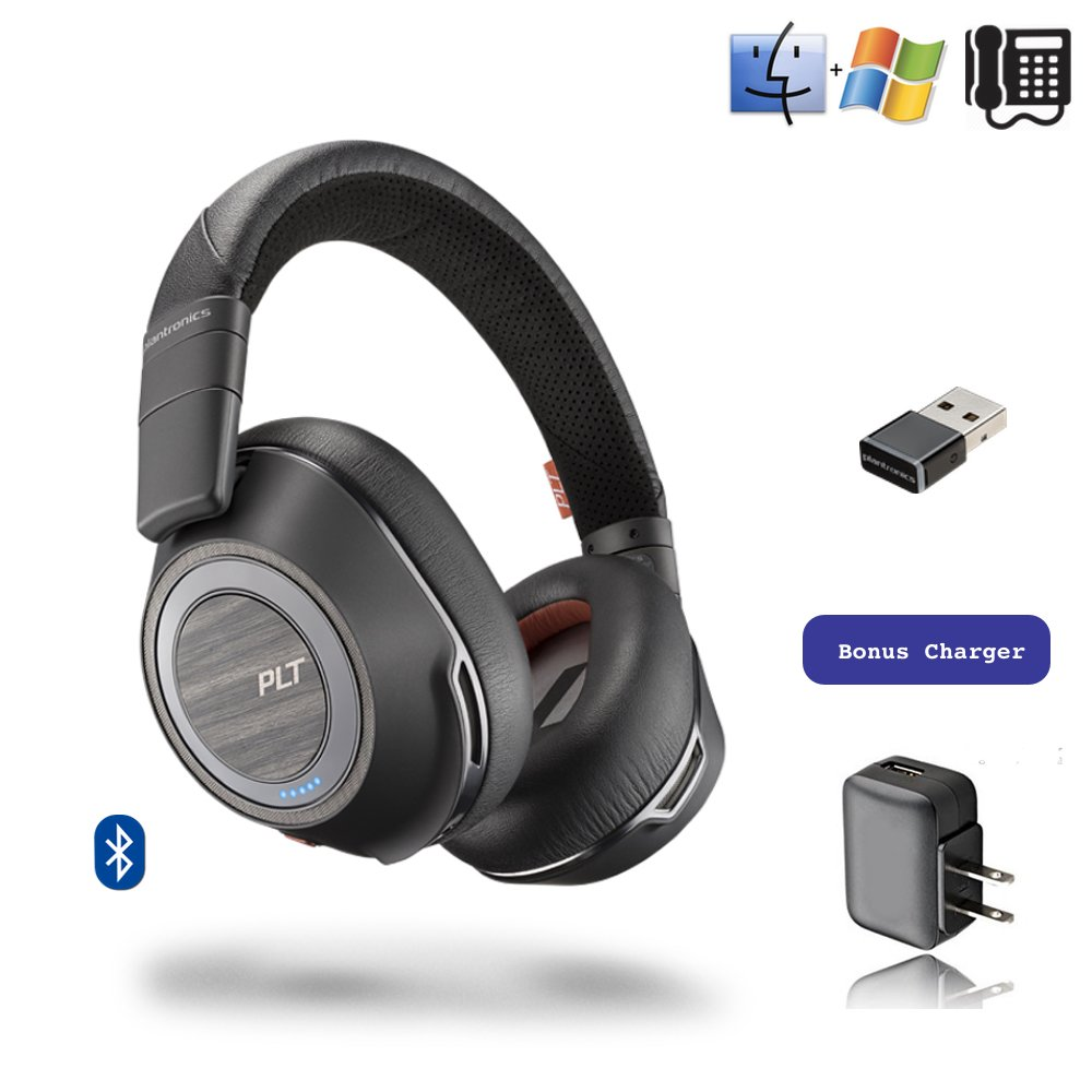 Plantronics Voyager 8200-UC Stereo Bluetooth Headphones, for Smartphones, Tablets, PC/MAC Apps, Bluetooth Polycom VVX 601, OBi2182 | USB Audio Dongle, Charger | Bonus Power Supply by Global Teck Worldwide