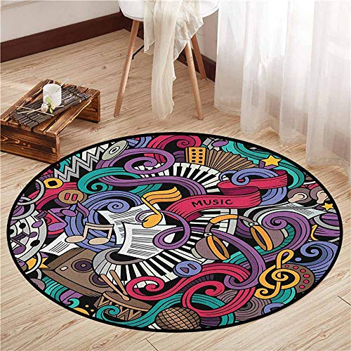 Round Carpet,Doodle,Music Themed Hand Drawn Abstract Instruments Microphone Drums Keyboard Stradivarius,Anti-Slip Doormat Footpad Machine Washable,5'3