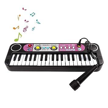 Zmoon Piano para Niños, Teclado de Piano para Niños 37 Mini Piano Electrónico Multifuncional Juego