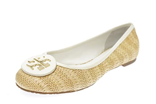 56264ad3092 Tory Burch Reva Raffia Straw Ballet Flat Natural Bleach Size 10  Amazon.ca   Shoes   Handbags
