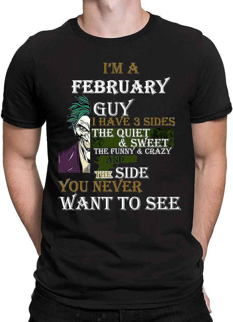 Regalo de cumpleaños Nacido en febrero, Camiseta para Hombre Manga Corta Hombre Camisetas Cuello Redondo Moda Camisetas, Negro