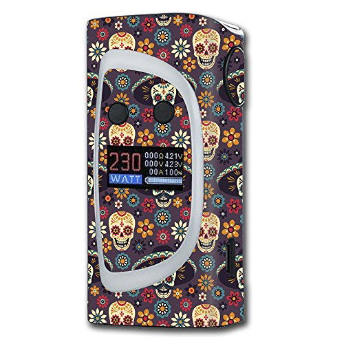 Skin Decal Vinyl Wrap for Sigelei Kaos Spectrum 230W Vape stickers skins cover / Sugar Skulls Sombrero Day of the Dead