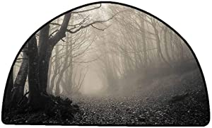 Non-Slip Bath Hotel Mats Gothic Decor Collection,Path on The Gothic Forest Trees Foggy Mysterious Nature Monochrome Art,Cloudy Gray,W24 x L16 Half Round Rugs for Sale