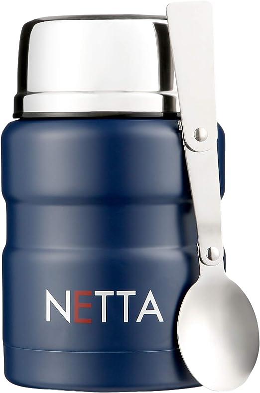 Vakuumisolierte Lebensmittelbeh/älter Thermosflasche mit faltbarem L/öffel Blau Edelstahl 450 ml