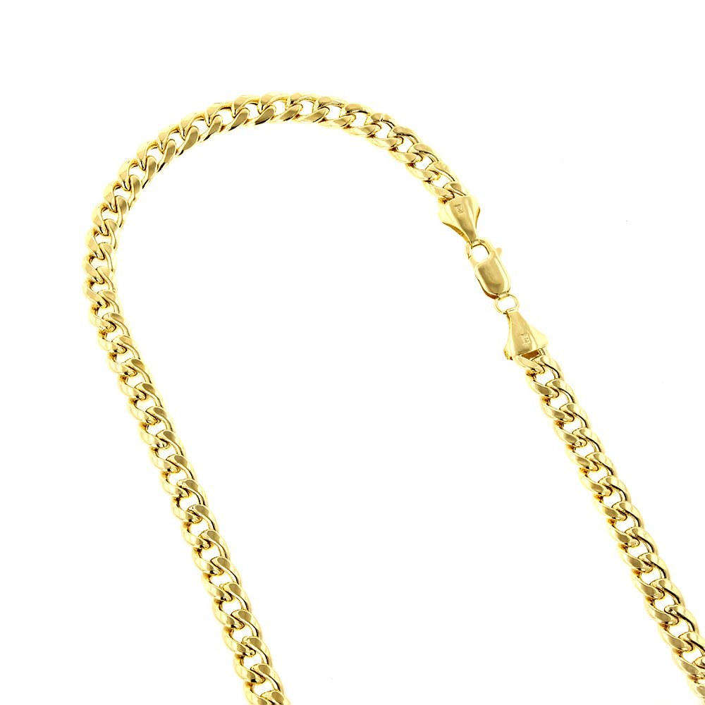 IcedTime 10k Yellow Gold 8mm wide Hollow Miami Cuban Chain Link 8.5'' Bracelet with Lobster Clasp