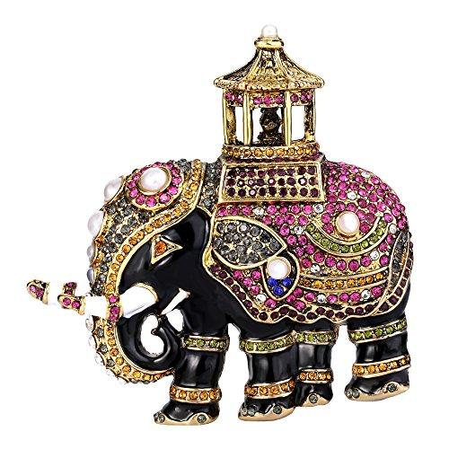 EVER FAITH Crystal Simulated Pearl Black Enamel Retro Elephant Animal Brooch Multicolor Antique Gold-Tone