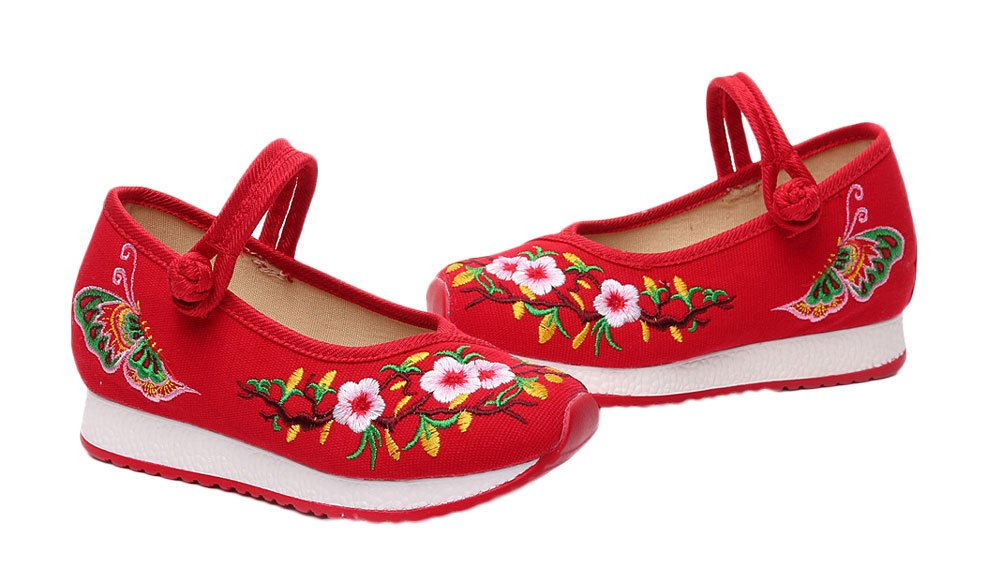 Soojun Girls Unique Embroidery Mary Jane Canvas Sneaker, 2 Little Kid, Red