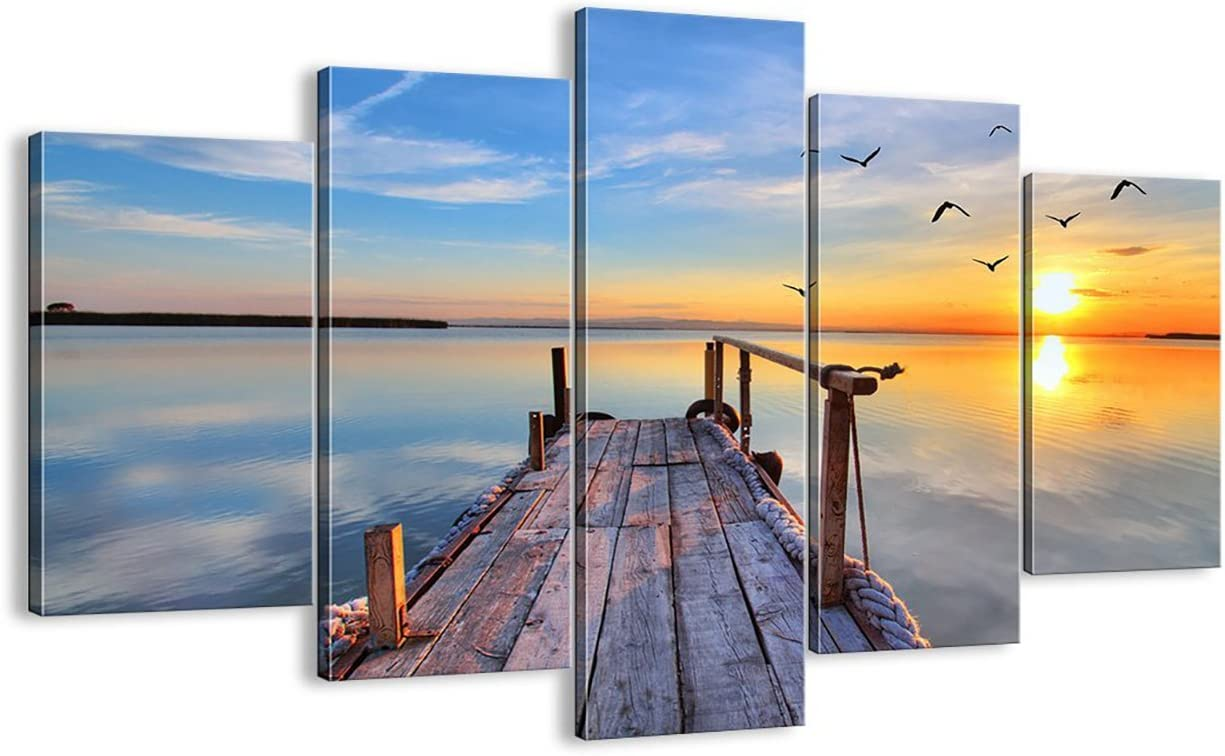 Bridge Canvas 5 PCS Multi Panel Artwork Seagulls Soaring Painting Sunrise Modern,HD Prints Pictures Giclee Wall Art