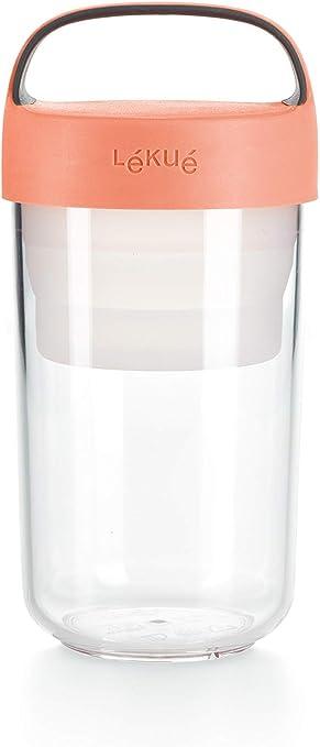 Oferta amazon: Lékué - Recipiente Hermético para Transportar Alimentos, 600 milliliters, Plástico, Coral