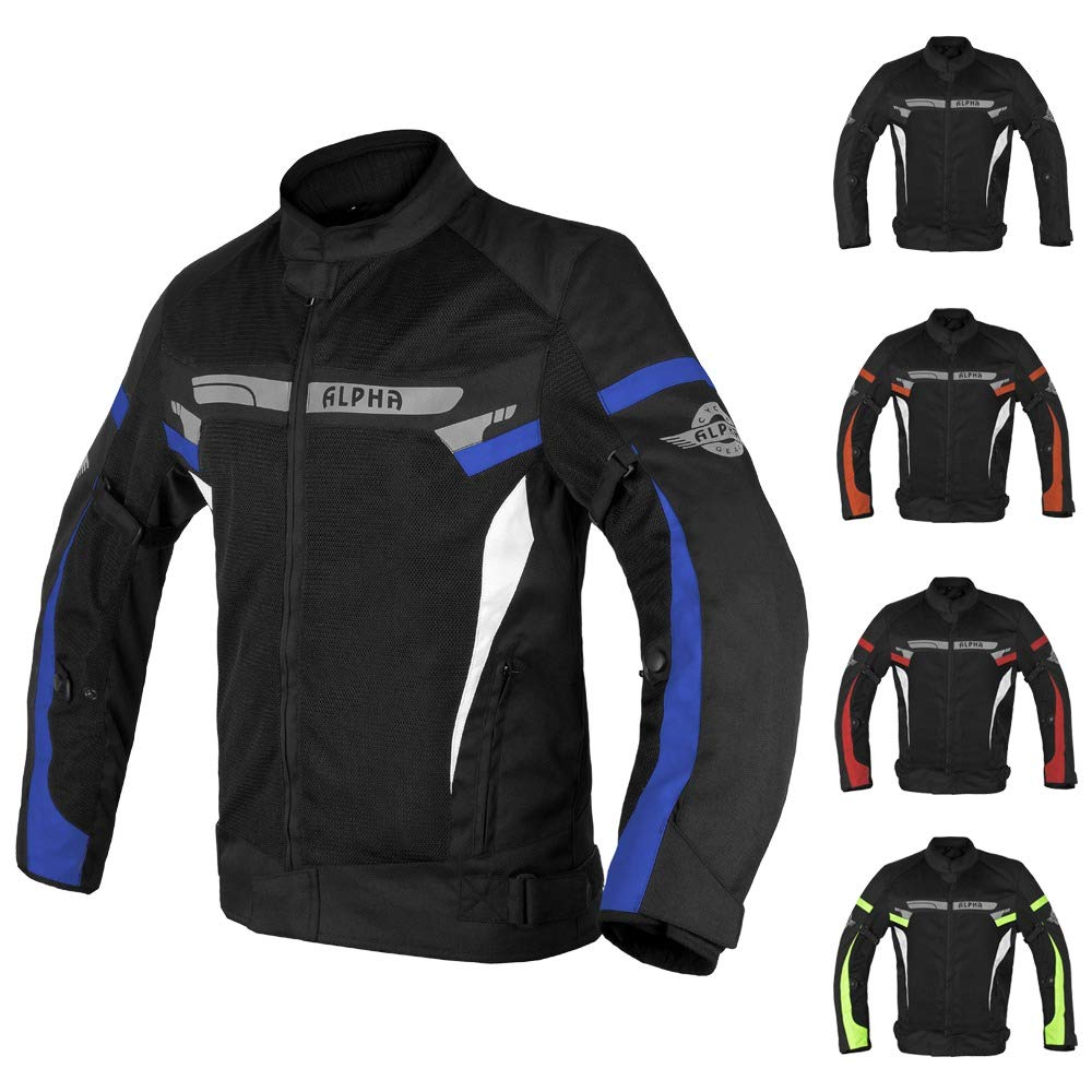 ALPHA CYCLE GEAR BREATHABLE BIKERS RIDING PROTECTION MOTORCYCLE JACKET MESH CE ARMORED BLUE MOON, LARGE