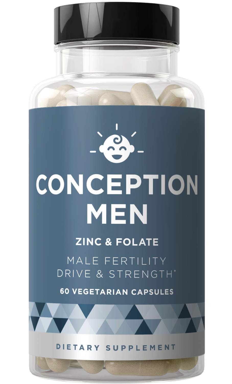 Conception Men Fertility Vitamins - Male Optimal Count, Sperm Motility Strength, Healthy Volume Production - Zinc, Folate, Ashwagandha Pills - 60 Vegetarian Soft Capsules by Eu Natural
