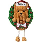 Personalized Yorkie Christmas Tree Ornament 2020 - Fluffy Dog Dangle Paw Santa Hat Pure Love Play Yorkshire Terrier Long…