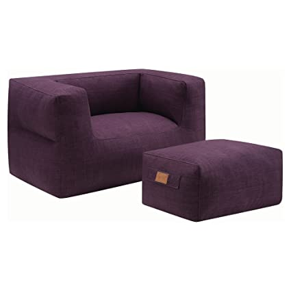 Admirable Amazon Com Coaster Lazy Life Bean Bag And Ottoman In Purple Pabps2019 Chair Design Images Pabps2019Com