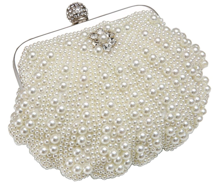 CaliaDress Women Faux Pearl Beading Rhinestone Evening Bridal Handbag C055BG