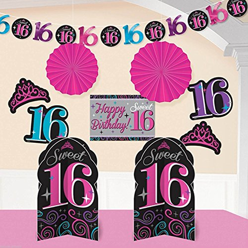 Amscan, Sweet 16 Birthday Celebration Room Decorating Kit Party Decoration, 10 Piece, Multi (Sweet 16 Purple Decorations)