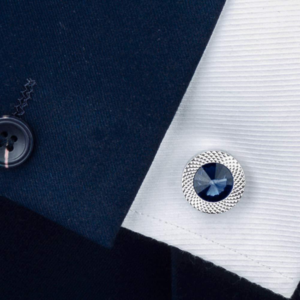 Taglio Strass Gemelli Rotonda Faces Zircone Gemelli Incisi Rotonda Gemelli Vestito da Affari di Nozze Blu Gemelli di Cristallo per Le Donne Gli Uomini