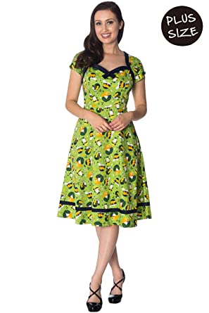 Banned Vintage Hat 50s Style Plus Size Vintage Retro Dress - Lime ...