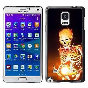 Be Good Phone Accessory // Dura Cáscara cubierta Protectora Caso Carcasa Funda de Protección para Samsung Galaxy Note 4 SM-N910 // Fire Skeleton