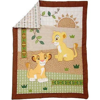 4 piezas marrón verde amarillo bebé cuna juego de cama rey León ...