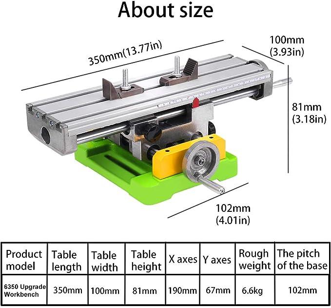 taille 6350 MYSWEETY Table de travail multifonction de fraisage de travail en travers de table de fraisage Table de glissi/ère de forage compos/é pour banc Perceuse Adjustme X-Y