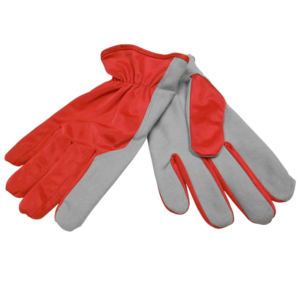Nylon gloves with fleece lining on palm synthetic leather nr. 10