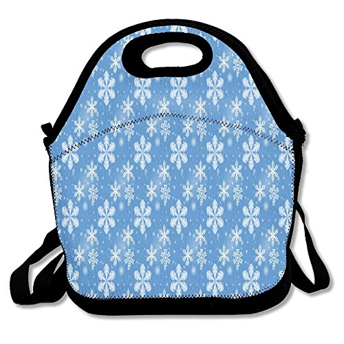 Blue Stripe Rambler Backpack (Winter Snowflakes Blue Christmas Snow Portable Cooler Bag Lunch Picnic Tote Waterproof Bag For Women,Men, Adults, Kids Outdoor Travel)