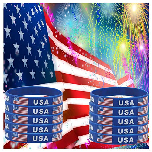 (JDXN 5-10 Pcs USA American Flag Day Silicone Rubber Bracelets Wristbands Fitness Sport United States (10 Pack))