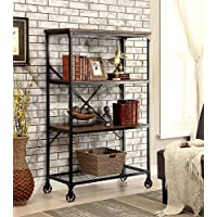 Simple Relax 1PerfectChoice Ventura Industrial Storage Bookcase Bookshelf Caster Wood Medium Oak Metal Frame