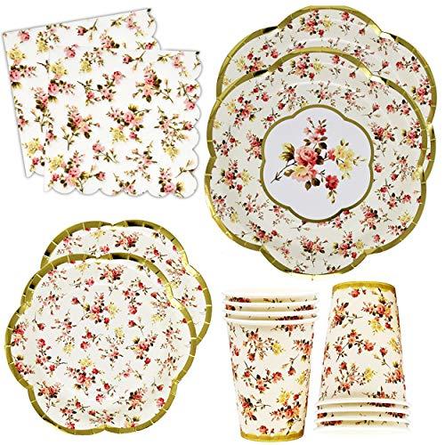 Tea Party Themed Bridal Shower (Gold Foil Vintage Floral Party Supplies Set Scalloped Edge 24 9