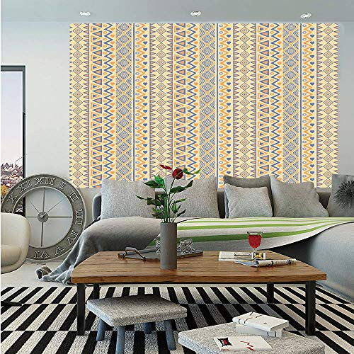 SoSung Striped Huge Photo Wall Mural,Prehistoric Stripes Native American Form Indie Ritual Hunting Aboriginal Wild Art,Self-Adhesive Large Wallpaper for Home Decor 108x152 inches,Yellow Blue