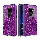 Galaxy S9 Glitter Bling Case, Three Layer Hybrid Secure Grip Drop Protection, Raised Lip Screen Frame Protection - Purple