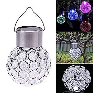 Rumfo Solar Powered Hanging Light Outdoor Decorative Sparkling Crystals Gazing Ball Landscape Lamp Color Changing LED Light Waterproof Holiday Decor Lighting for Party Garden Home Yard Path Lawn