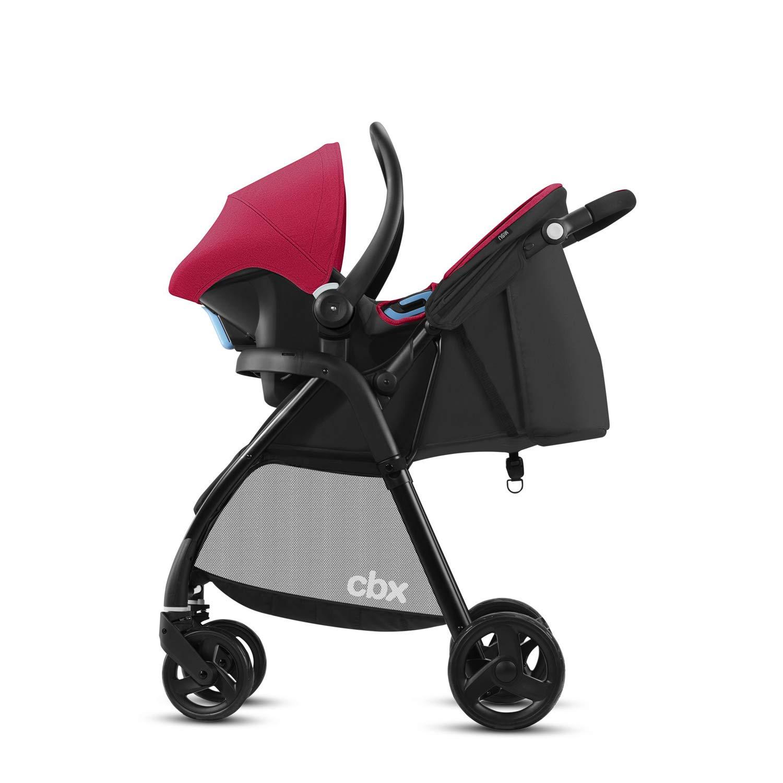 Crunchy Red Cochecito Misu TS Cbx Travel System 2 en 1 con cubierta para lluvia y adaptador para silla de coche silla de coche Shima desde el nacimiento