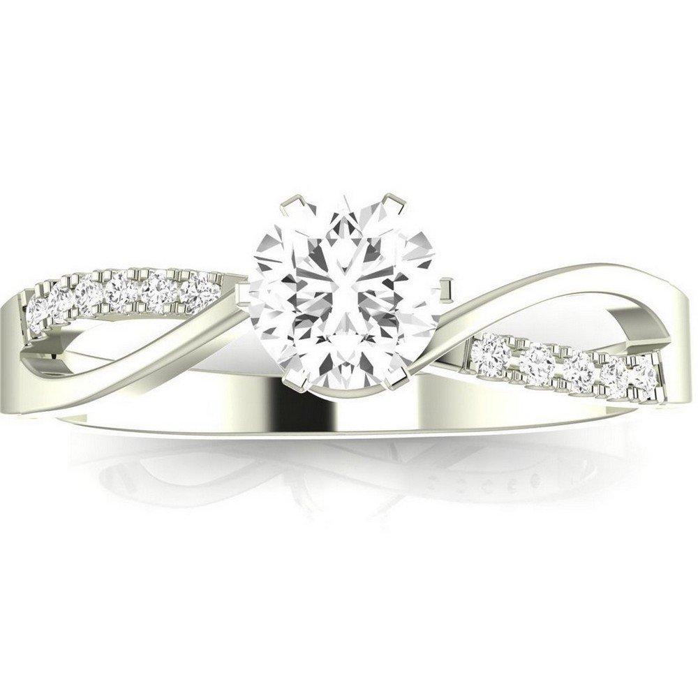 1.08 Ctw 14K White Gold Elegant Twisting Split Shank Engagement Ring w/ Round 1 Carat Forever One Moissanite Center
