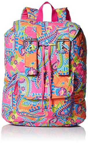 Trailmaker Girls' Paisley Print Cotton Quilted Backpack, Pink, One Size (Quilted Backpack Girls)