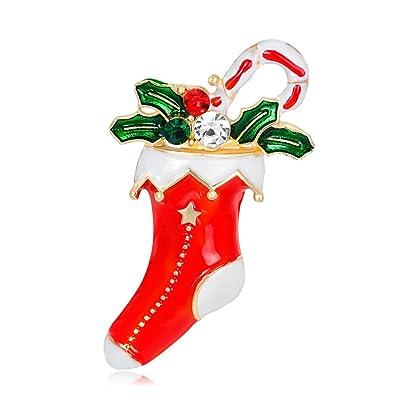 Sanwood mujeres dibujos animados Navidad Calcetines multicolor Rhinestone Broche Pin Navidad Joyería de fiesta: Amazon.es: Joyería