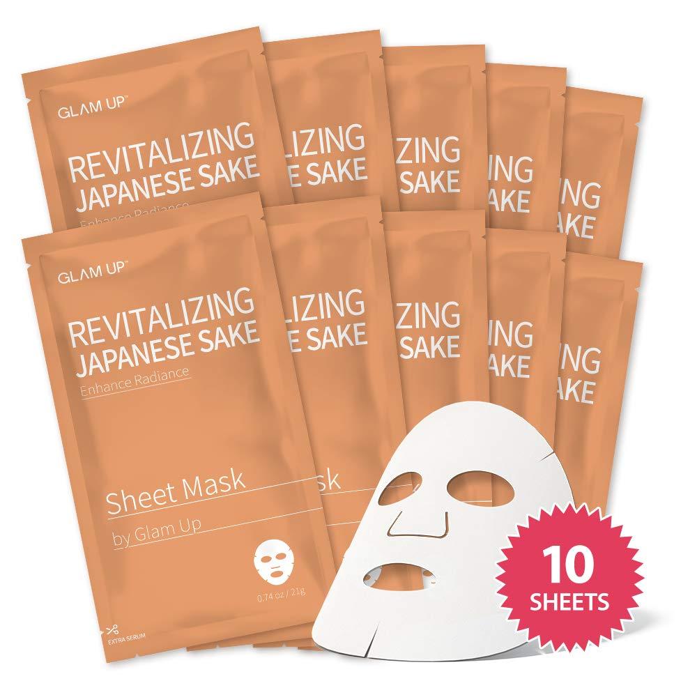 Sheet mask by glam up BTS Revitalizing Japanese Sake (Rice) - Purifying, Reduce Dark Circle Puffiness, Daily Skin Therapy Original K-Beauty Recipe x 10ea
