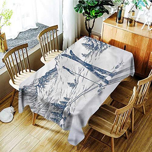 PriceTextile Winter,Rectangle tablecloths Ski Sport Mountain View 70