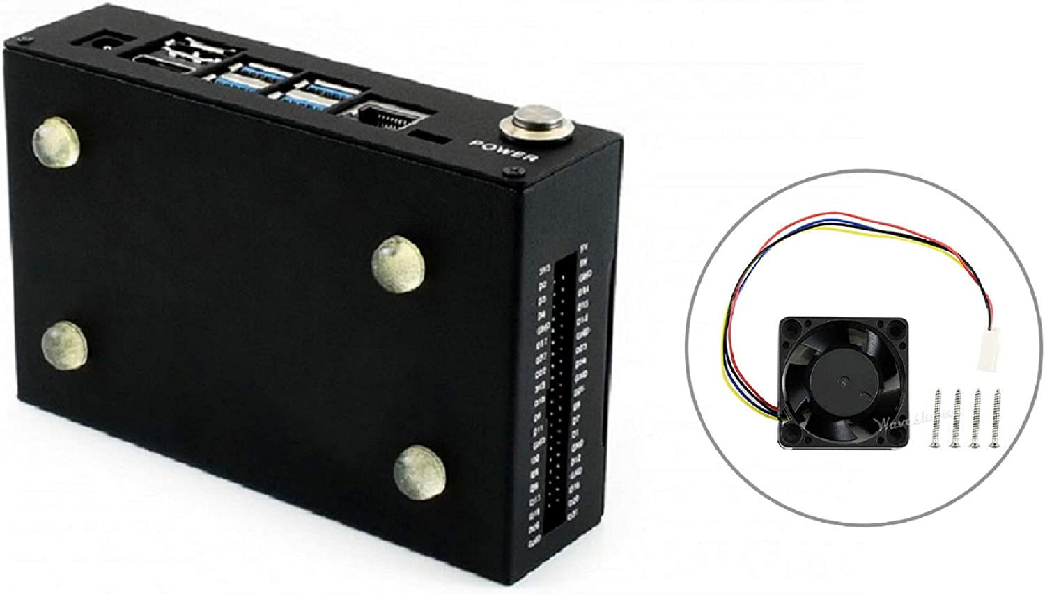 Metal Case with DC Brushless 5V PWM Fan for NVIDIA Jetson Nano Developer Kit,Cooling Fan and Metal Enclosure with Camera Holder Reset and Power Buttons Compatible with IMX219 Camera,Wireless-AC8265