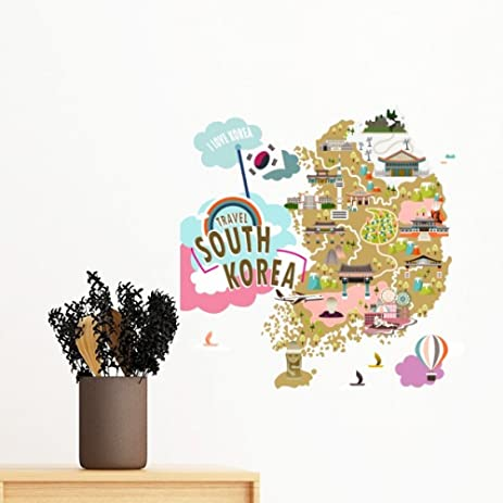 Amazon south korea map love travel removable wall sticker art south korea map love travel removable wall sticker art decals mural diy wallpaper for room decal gumiabroncs Image collections