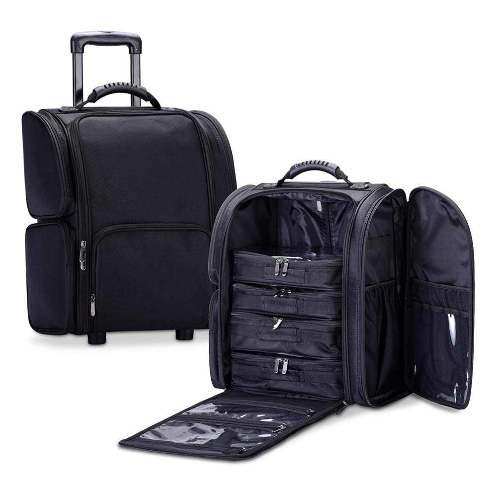 KIOTA Makeup Trolley, Slim Rolling Beauty Box, Soft Sided Cosmetic Case on Wheels, Carry-on Bag