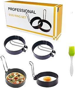 Egg Ring Egg Round Egg Cooker Rings For Fried Egg,Pancakes, Sandwiches - Egg Maker Molds,Professional Pancake Mold, Stainless Steel Non Stick (5 PCS)