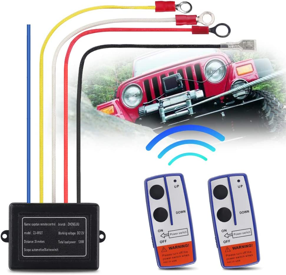 STEGODON New Wireless Winch Remote Control Kit 12V 150ft Switch Handset Controller for Truck Jeep ATV SUV 2PCS