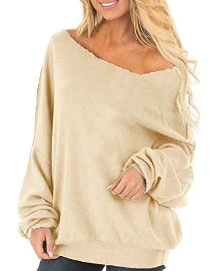 f2d38aafe74 Auxo Womens Off The Shoulder Tops Baggy Shirt Long Sleeve Blouse Oversized  Sweater Jumper Pullover