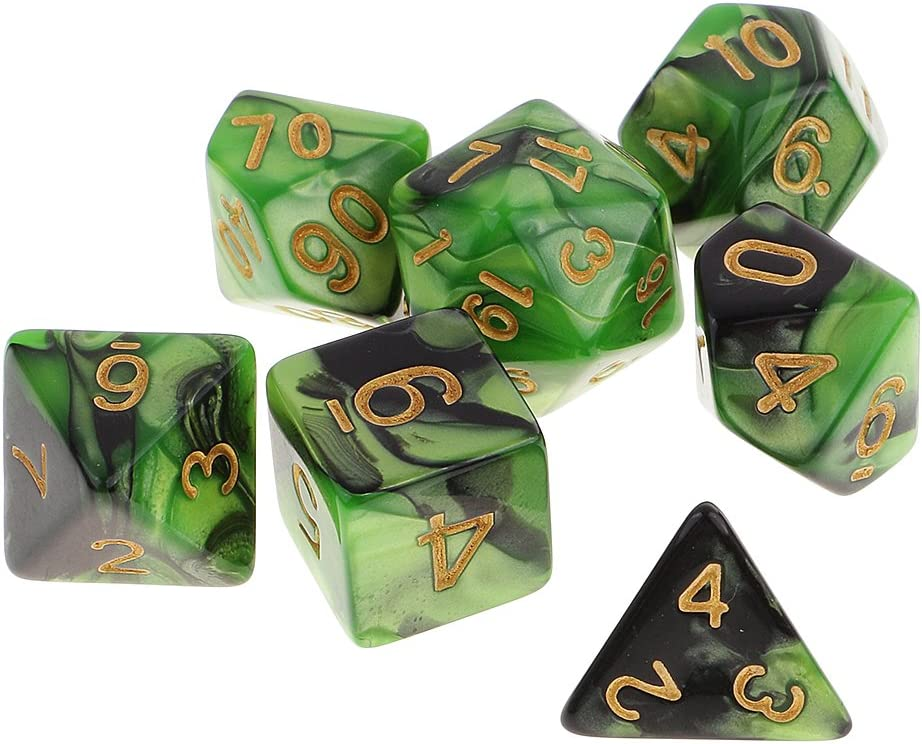 P Prettyia 7X Juego De Dados Poliédricos para Juegos De rol De Mazmorras Y Dragones - Verde Negro: Amazon.es: Juguetes y juegos