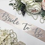 Bachelorette Sash - Champagne Satin - Silver ''Bride To Be''