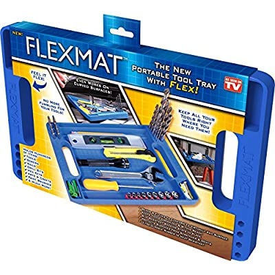 Flexmat: Flexible Tool Box Organizer Tray, Non-Slip, Ultra Durable Silicone Hex Bit, Screws, Nails, Tools Holder with intergrated Measurement ruler: Home Improvement