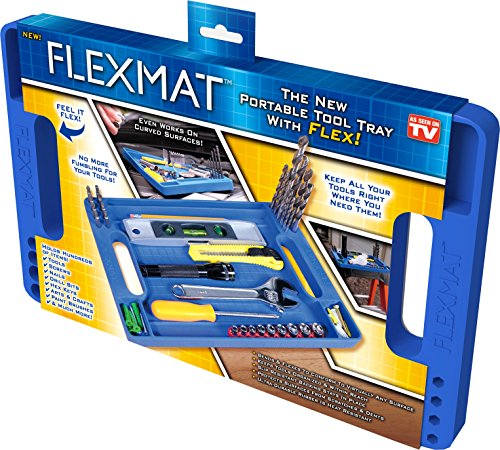 Flexmat: Flexible Tool Box Organizer Tray, Non-Slip, Ultra Durable Silicone Hex Bit, Screws, Nails, Tools Holder with intergrated Measurement ruler