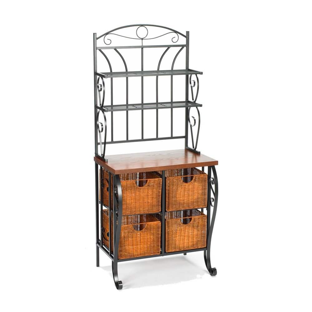 Southern Enterprises Wrought Iron Bakers Rack with Scroll Work, Black Finish by SEI